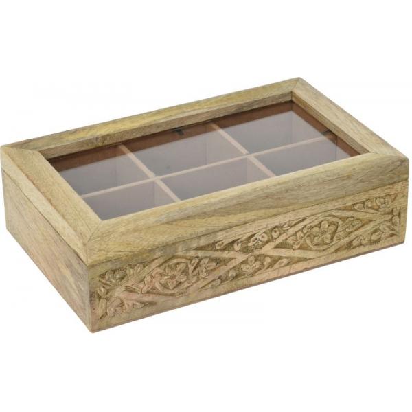 Cutie depozitare ceai din lemn de Mango, 6 compartimente 26.5x16.5x7.5cm 0