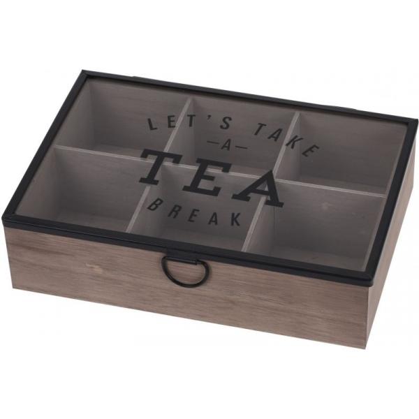 Cutie depozitare ceai din MDF 6 compartimente 24x16.5x7cm 0
