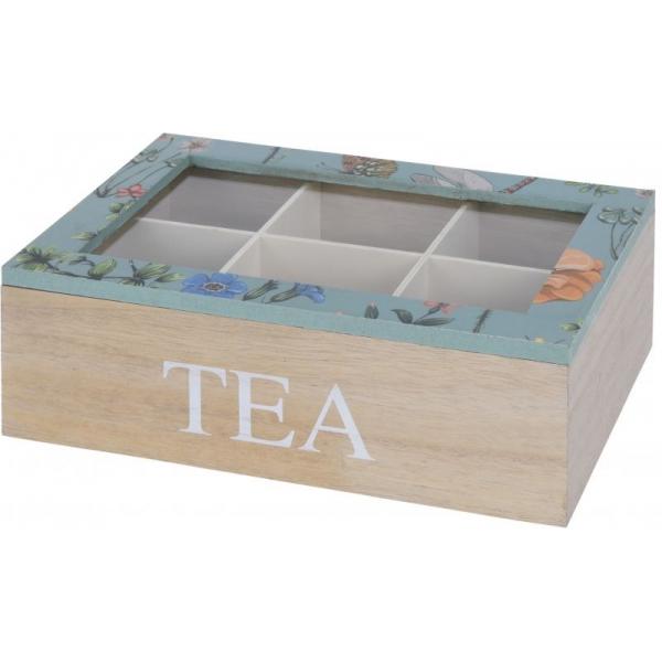 Cutie depozitare ceai din MDF 6 compartimente 24x16x8cm culoare natur si verde cu flori 0