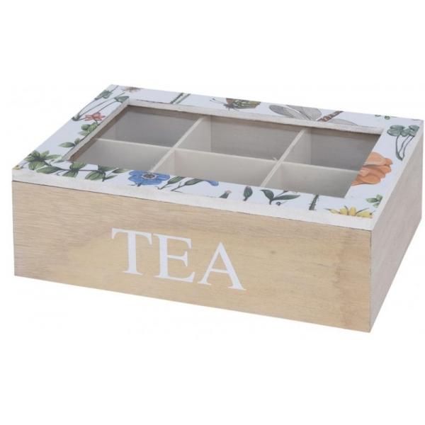 Cutie depozitare ceai din MDF 6 compartimente 24x16x8cm culoare natur si alb cu flori 0
