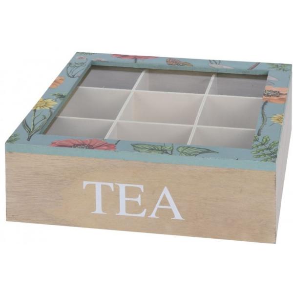 Cutie depozitare ceai din MDF 9 compartimente 24x24x8cm culoare natur si verde cu flori 0