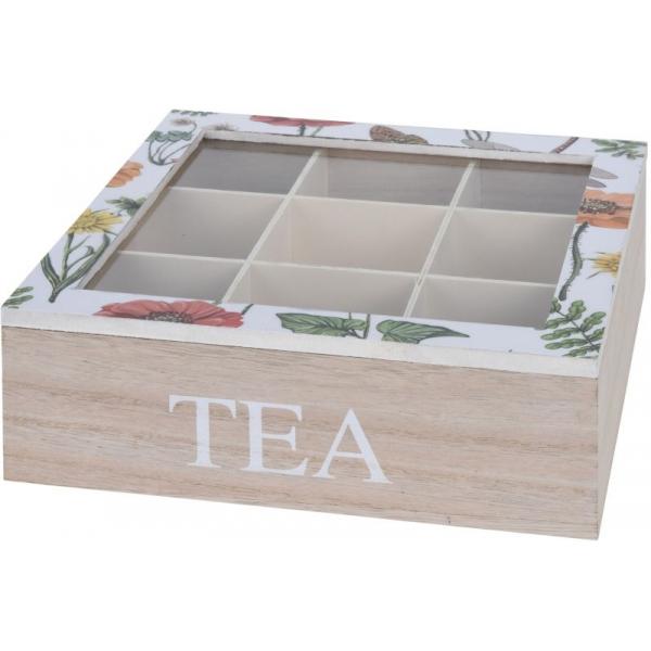 Cutie depozitare ceai din MDF 9 compartimente 24x24x8cm culoare natur si alb cu flori 0