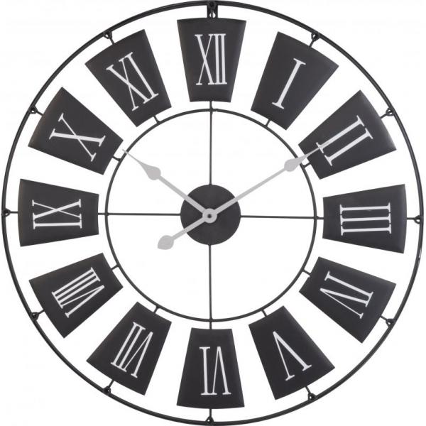 Ceas de perete din metal, Negru cu limbi Gri si cifre romane Mari Albe, D 70cm, grosime 2cm 0