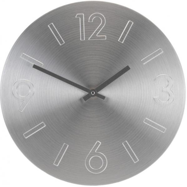 Ceas perete din Aluminiu, cu limbi negre, D35cm argintiu 1