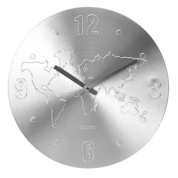 Ceas de perete Argintiu, din Aluminiu, cu limbi Argintii, D 35cm, model Harta Lumii 0