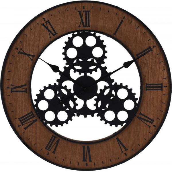 Ceas de perete, din metal si MDF, design industrial, diametru 57cm, grosime 4cm, Maro 0