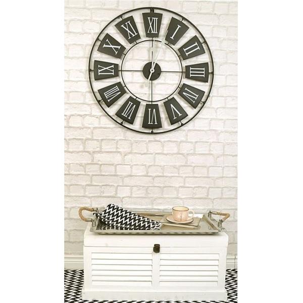 Ceas de perete din metal, Negru cu limbi Gri si cifre romane Mari Albe, D 70cm, grosime 2cm 2