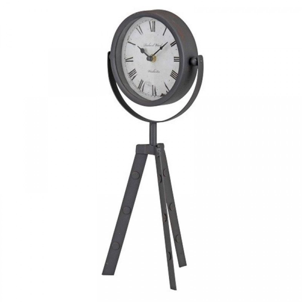 Ceas decorativ, Metalic, cu trei picioare, negru, model vintage, D15cm 0