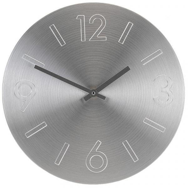 Ceas perete din Aluminiu, cu limbi negre, D35cm argintiu 0