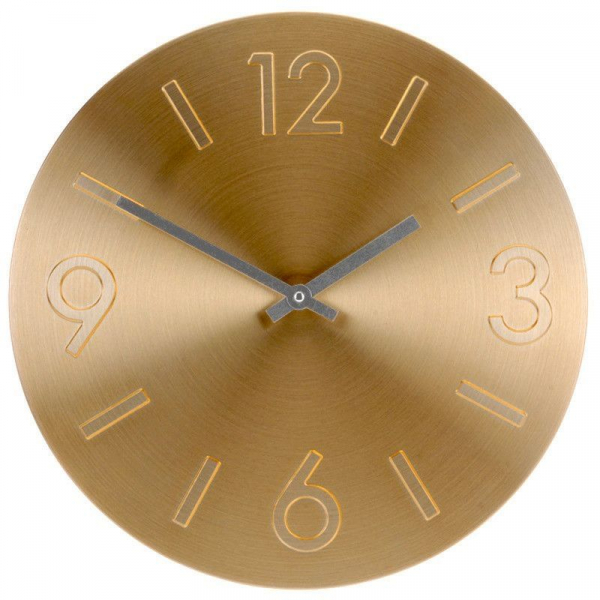Ceas perete din Aluminiu, cu limbi negre, D35cm auriu 0