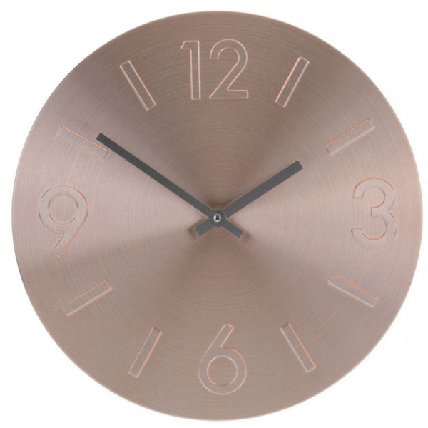 Ceas perete din Aluminiu, cu limbi negre, D35cm, culoare bronz 0