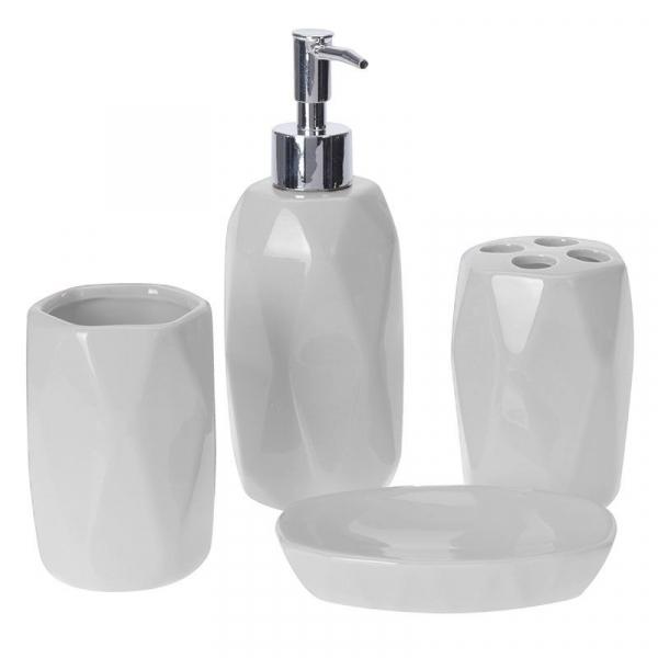 Set accesorii baie alb, model fatetat cu patru piese, din ceramica 0