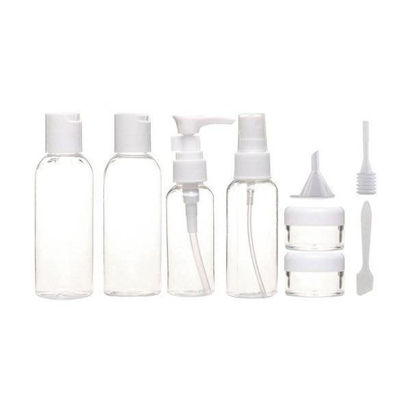 Set de recipiente calatorie si sticle, 11buc, De voiaj, Plastic, Alb/Transparent 1