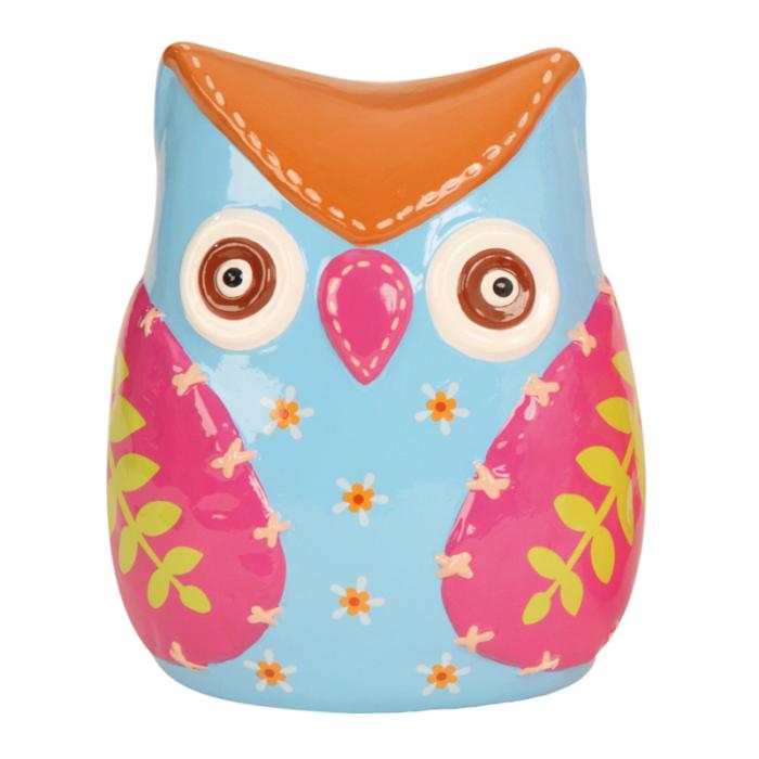 Pusculita din Ceramica, Decorativa, NAGO, Bufnita, Albastru/Rosu, H 18 cm, 0.51 kg 0