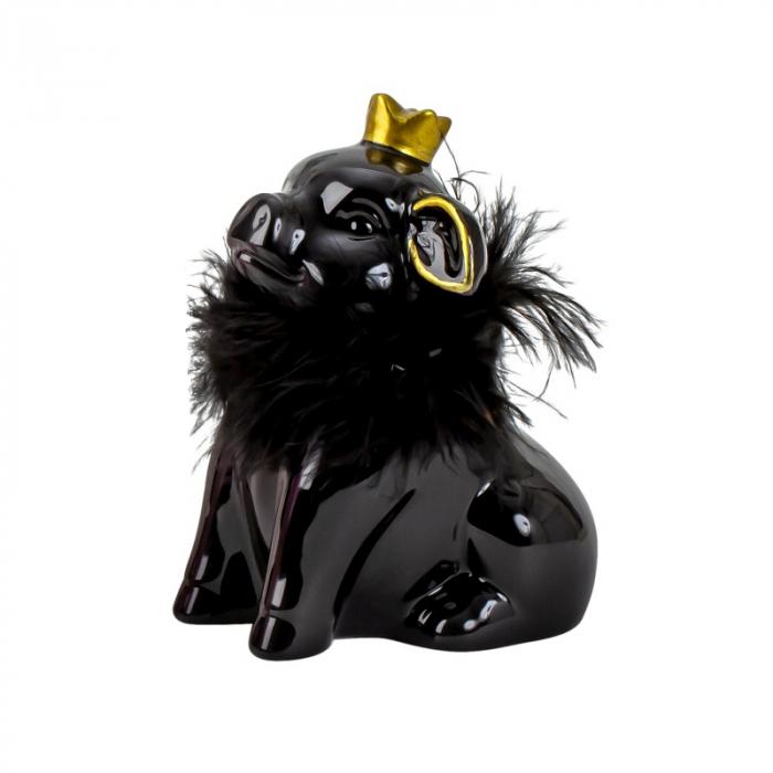 Pusculita din Ceramica, NAGO, Porcusor Negru, Printesa cu Coroana aurie si cu fular din Pene, H12.5 cm 1