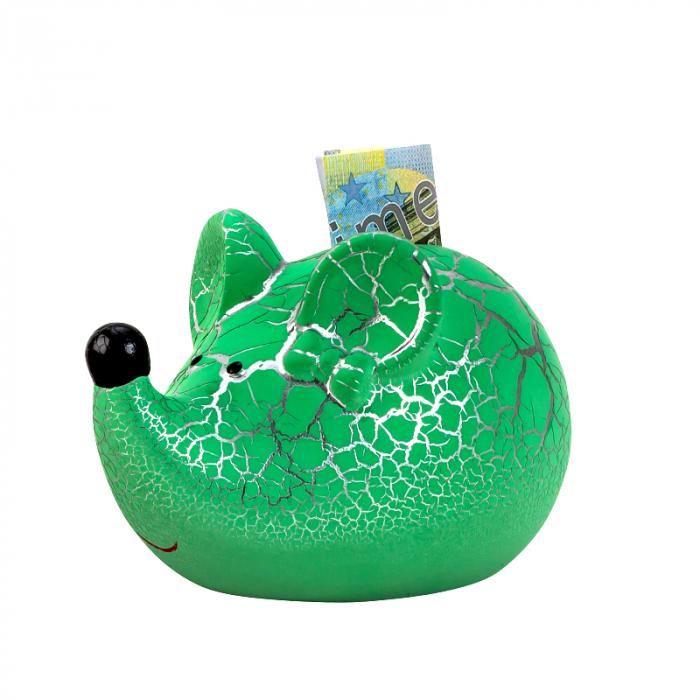 Pusculita din ceramica, model Soricel, culoare Verde, 8x11.5 cm 0