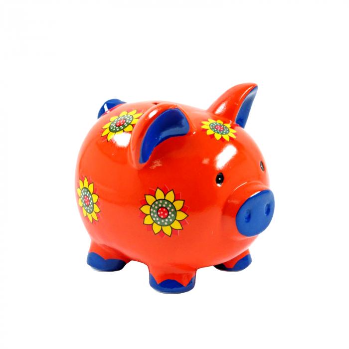 Pusculita Purcel cu flori aplicate, din ceramica, Rosu, 20x23 cm [0]