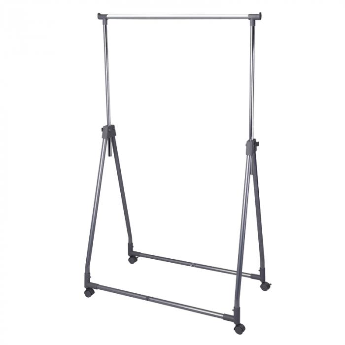 Suport portabil pentru umerase, Raft haine cu roti, Stender, latime 93 cm, inaltime max 170 cm, tub cromat 25 mm, max 15 kg [0]