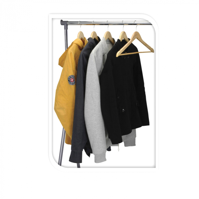 Suport portabil pentru umerase, Raft haine cu roti, Stender, latime 93 cm, inaltime max 170 cm, tub cromat 25 mm, max 15 kg [1]