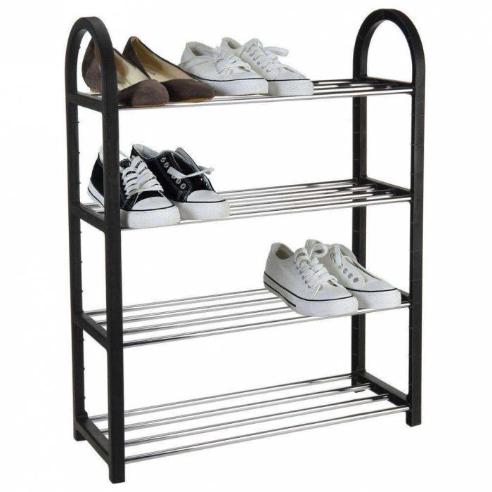 Raft pantofi, 4 polite, plastic, Negru, 50x65x19 cm, 700 g 2
