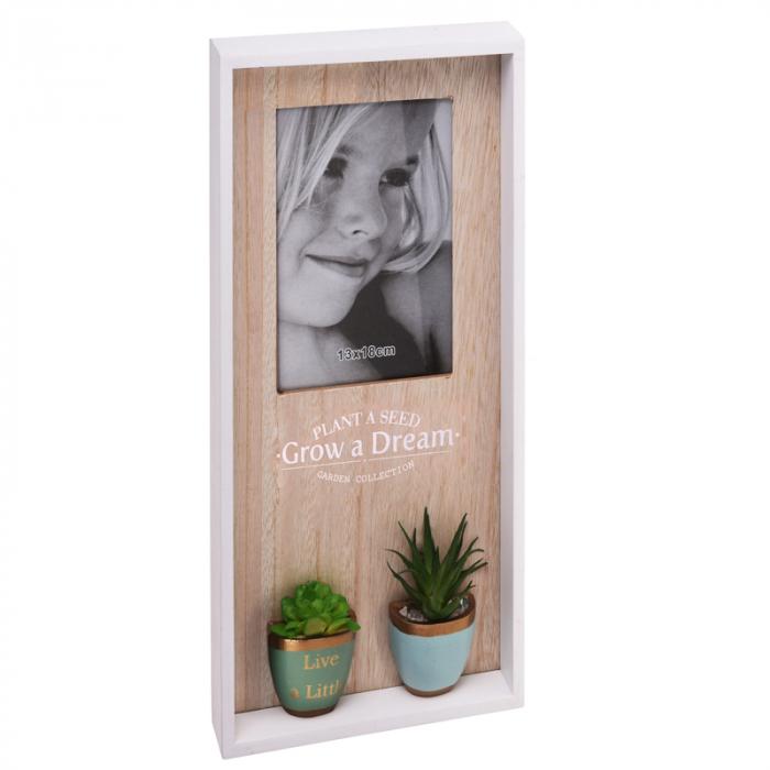 Rama foto din lemn, vertical, 1 foto si 2 plante artificial, 40x20x4cm, Alb/Crem [3]