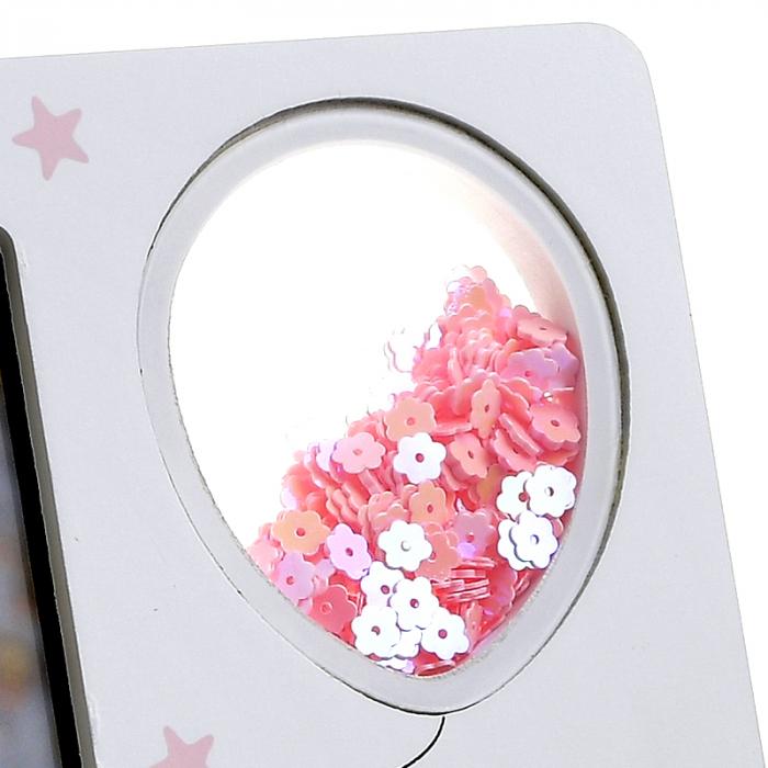 Rama foto lemn, culoare alb cu roz, 10x15 cm [2]