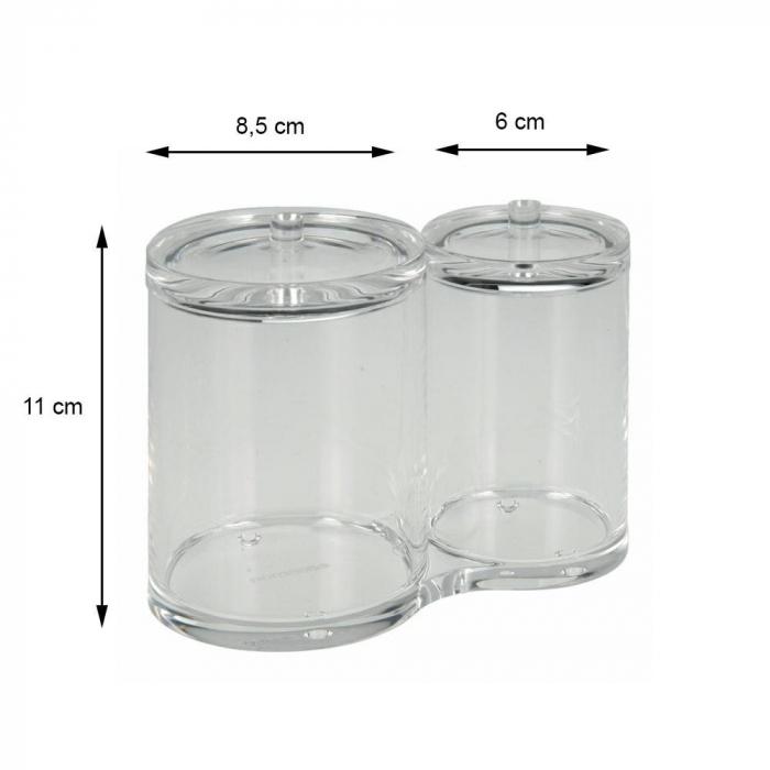 Recipient cu 2 compartimente, pentru dischete demachiante, NAGO, articolele de baie, Acril, D 6cm si 8.5cm, H11cm, Transparent 2