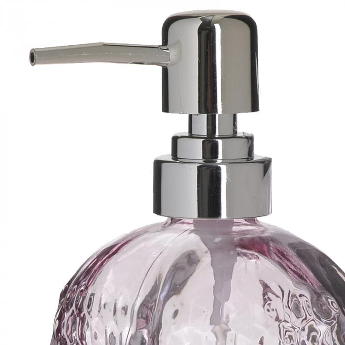 Recipient pentru sapun din sticla roz model buline , inaltime 18 cm diametru 7,5 cm 1