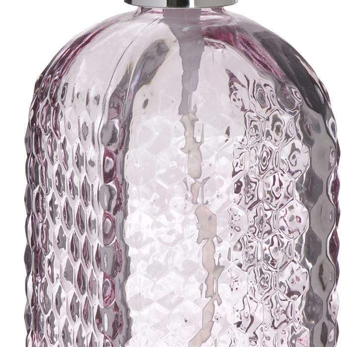 Recipient pentru sapun din sticla roz model buline , inaltime 18 cm diametru 7,5 cm 2