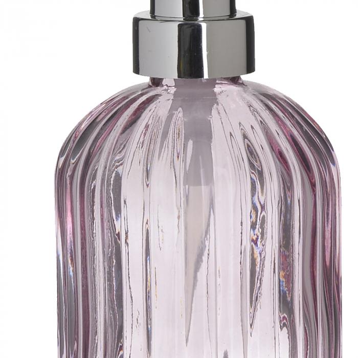 Recipient pentru sapun din sticla roz model dungi, inaltime 18 cm diametru 7,5 cm 2