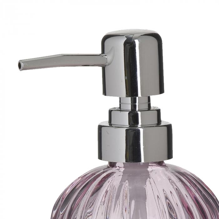 Recipient pentru sapun din sticla roz model dungi, inaltime 18 cm diametru 7,5 cm 1