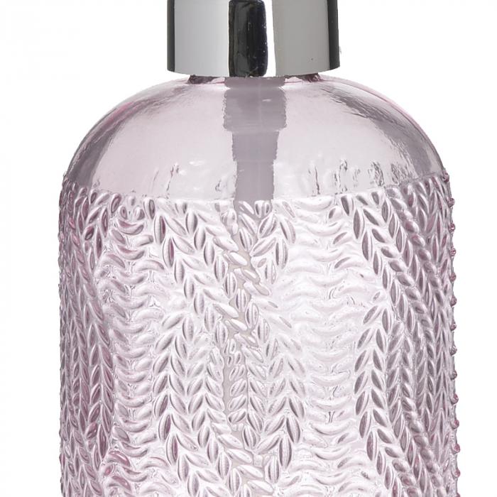 Recipient pentru sapun din sticla roz model impletitura, inaltime 18 cm diametru 7,5 cm [2]