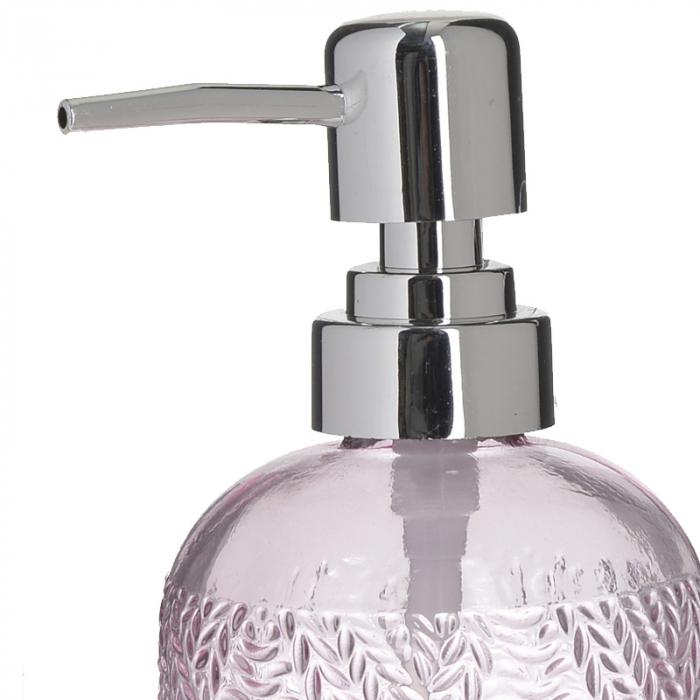 Recipient pentru sapun din sticla roz model impletitura, inaltime 18 cm diametru 7,5 cm [1]