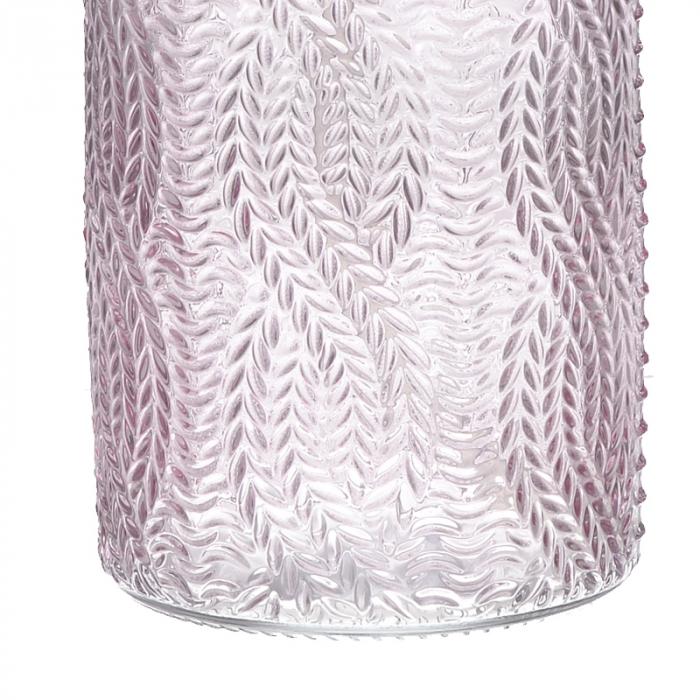 Recipient pentru sapun din sticla roz model impletitura, inaltime 18 cm diametru 7,5 cm [3]