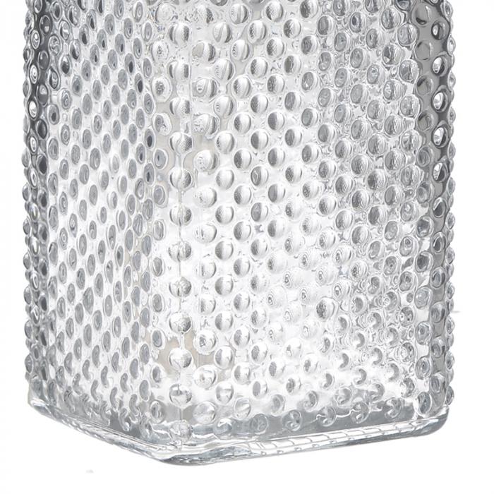 Recipient pentru sapun lichid din sticla transparenta model buline , inaltime 18 cm diametru 7,5 cm 2