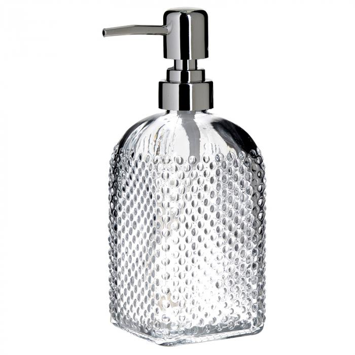 Recipient pentru sapun lichid din sticla transparenta model buline , inaltime 18 cm diametru 7,5 cm 0