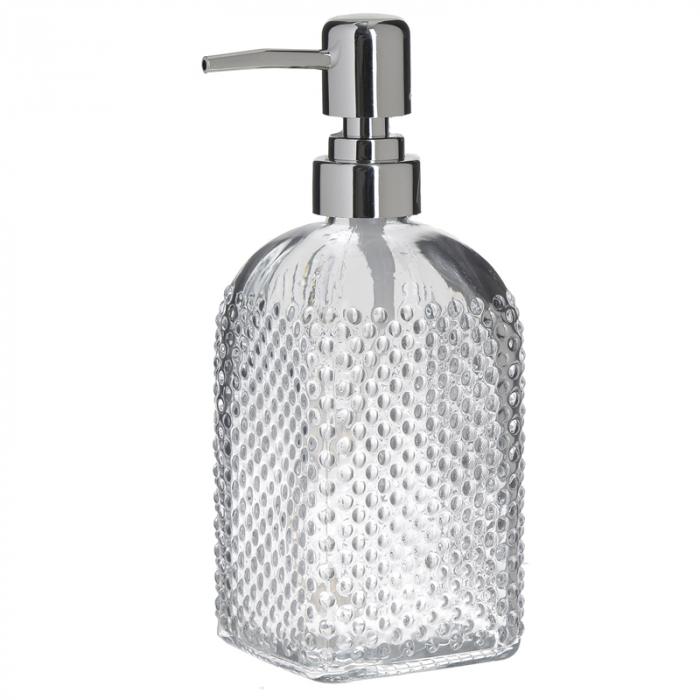 Recipient pentru sapun lichid din sticla transparenta model buline , inaltime 18 cm diametru 7,5 cm 3