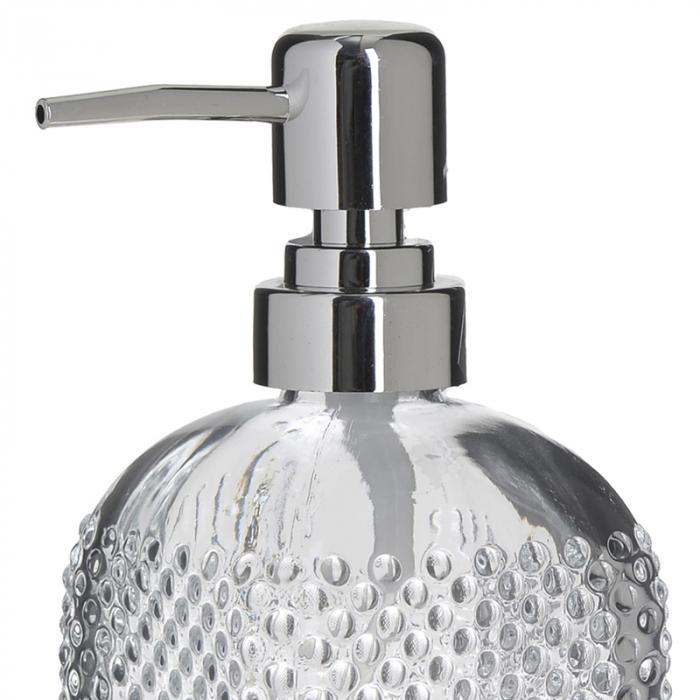 Recipient pentru sapun lichid din sticla transparenta model buline , inaltime 18 cm diametru 7,5 cm 1