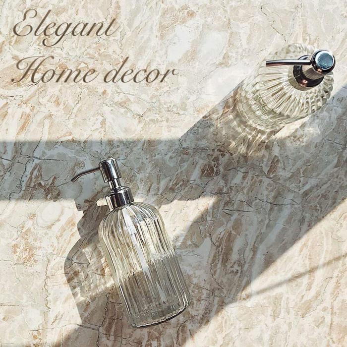 Recipient pentru sapun din sticla transparenta model dungi, inaltime 18 cm diametru 7,5 cm 7