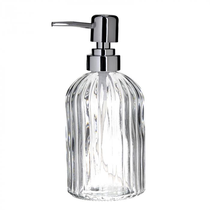 Recipient pentru sapun din sticla transparenta model dungi, inaltime 18 cm diametru 7,5 cm 3