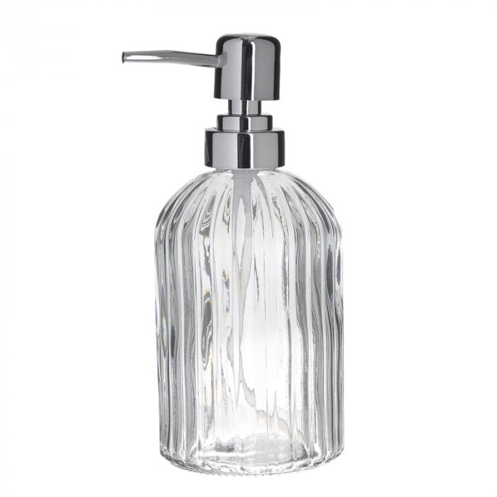 Recipient pentru sapun din sticla transparenta model dungi, inaltime 18 cm diametru 7,5 cm 0
