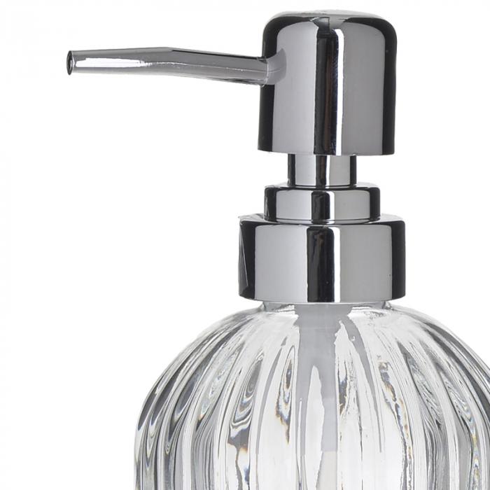 Recipient pentru sapun din sticla transparenta model dungi, inaltime 18 cm diametru 7,5 cm 1