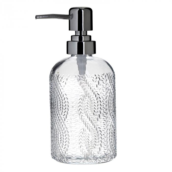Recipient pentru sapun din sticla transparenta model impletitura, inaltime 18 cm diametru 7,5 cm 0