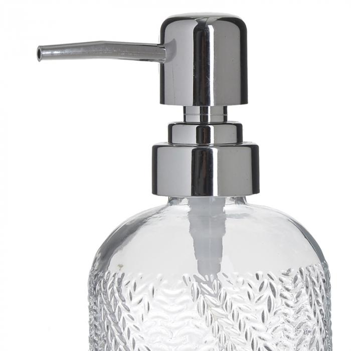 Recipient pentru sapun din sticla transparenta model impletitura, inaltime 18 cm diametru 7,5 cm 1