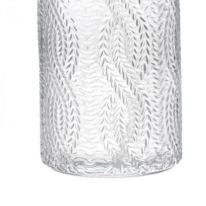 Recipient pentru sapun din sticla transparenta model impletitura, inaltime 18 cm diametru 7,5 cm 2