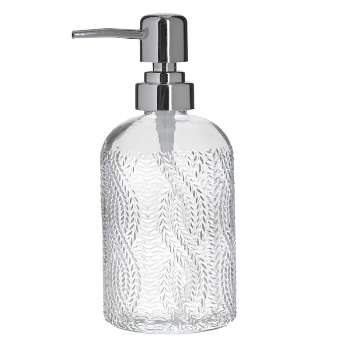 Recipient pentru sapun din sticla transparenta model impletitura, inaltime 18 cm diametru 7,5 cm 4