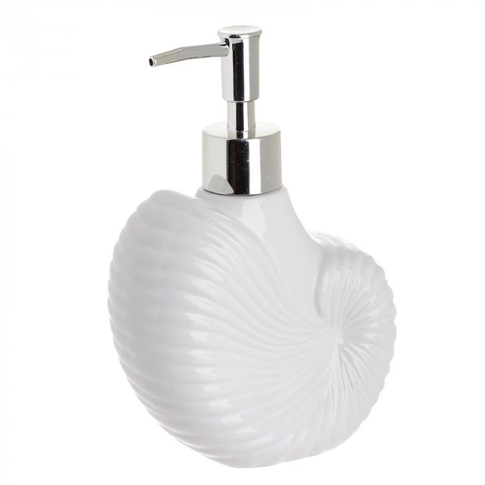 Recipient pentru sapun lichid model scoica culoare alb 11X6X16 cm [0]