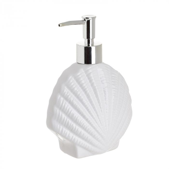 Recipient pentru sapun lichid model scoica cu brazde culoare alb 11X6X16 cm 0