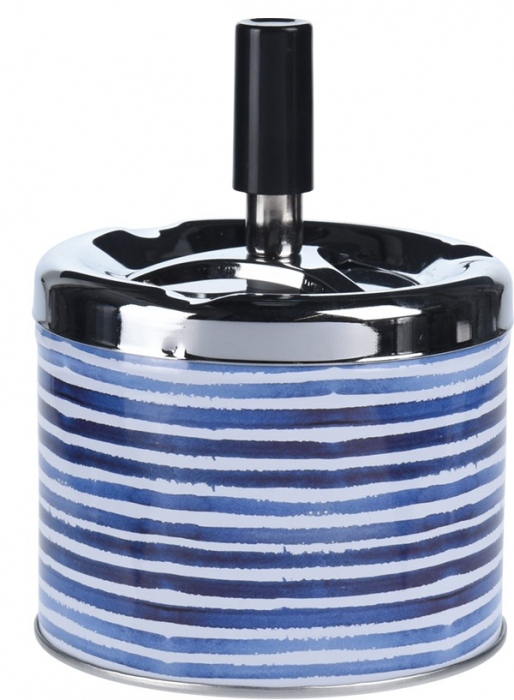 Scrumiera din metal cu buton, 9.5x8cm, albastra cu dungi 1