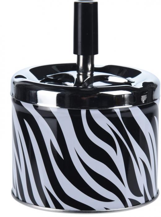 Scrumiera din metal cu buton, 9.5x8cm, model zebra 1